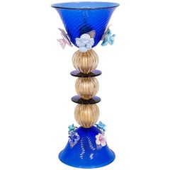 Italian Table Lamp in Blue and 24-Karat Gold Murano Glass, 1980s