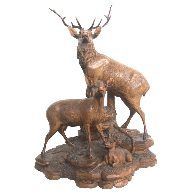 Antique and Large Hand-Carved Black Forest Walnut Deer Family Sculpture Statue For Sale
