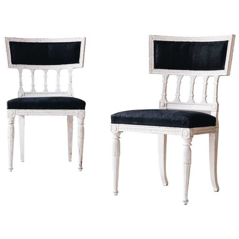 Pair of 19th Century Gustavian Chairs For Sale
