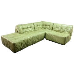 Rare Mid-Century Mint Green Leather Modular Lounge Sofa by Roche Bobois