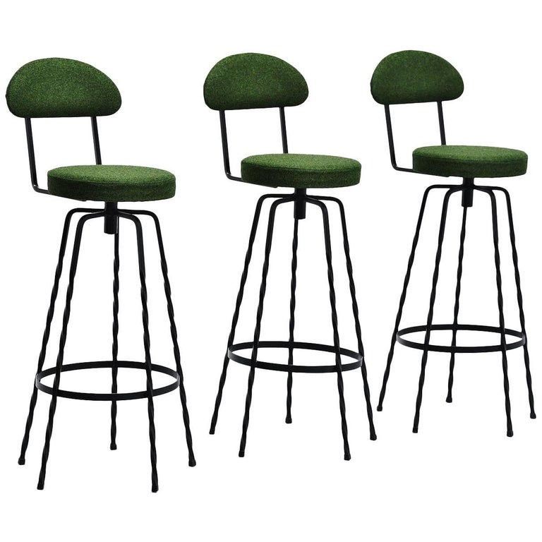 French Wrought Iron Bar Stools Divina Kvadrat France 1960 For