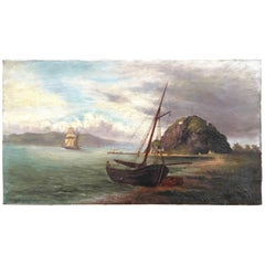 Colonial Oil Painting, Fort with Steamship, Early Victorian
