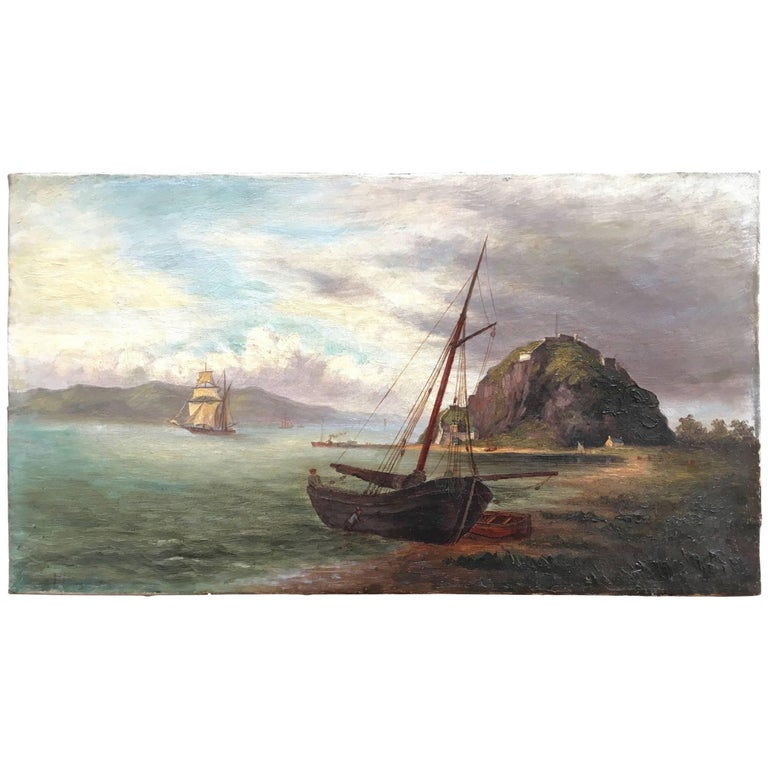 Colonial Oil Painting, Fort with Steamship, Early Victorian For Sale