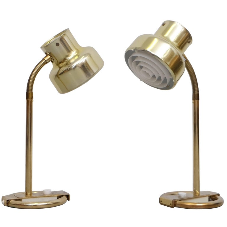 """Pair of Brass Table Lamps """"Bumlingen"""" by Anders Pehrson, 1960s For Sale"""