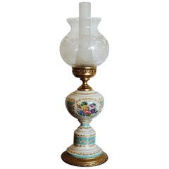 French Vintage White and Turquoise Ace Decor De Paris Porcelain Table Lamp