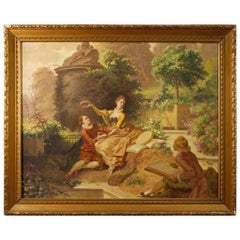 19th Century Italian Signed Painting Romantic Scene with Characters