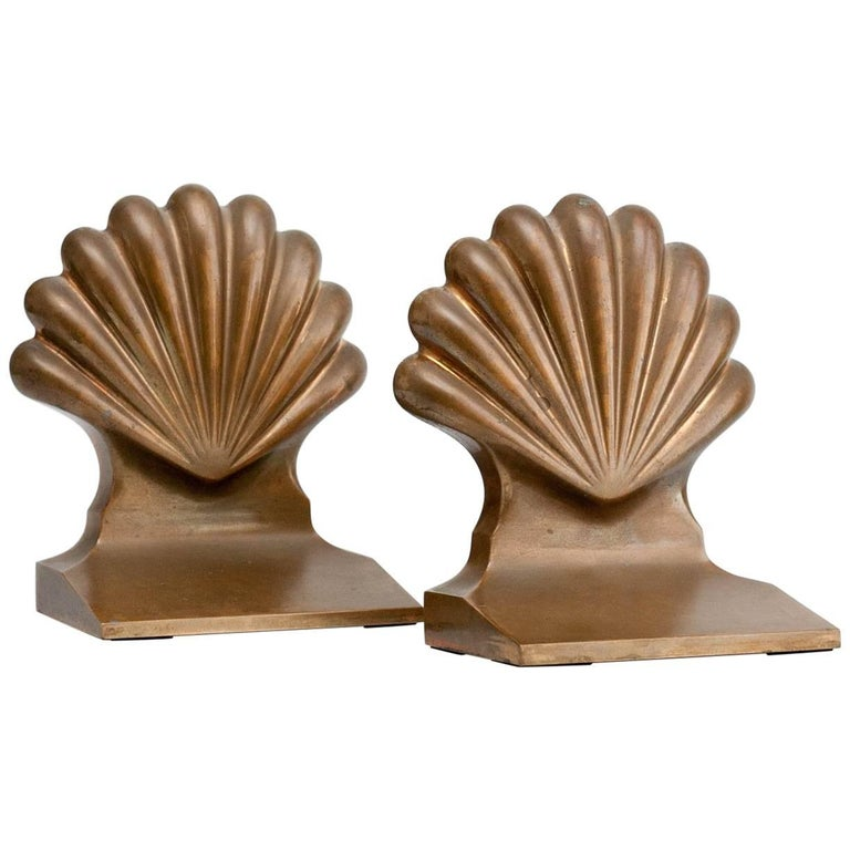 Pair of 1930s Solid Brass Shell Bookends