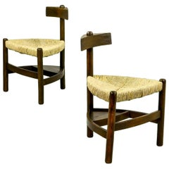 Rare Pair of Oak Tree and Rush Chairs in Style of Charlotte Perriand for Meribel