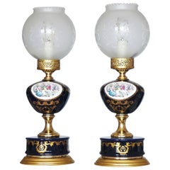 Pair of Italian Vintage Cobalt Blue Hand-Painted Porcelain Lamps, circa 1960