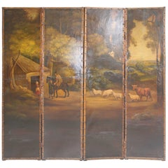 19th Century English Four Leave Screen