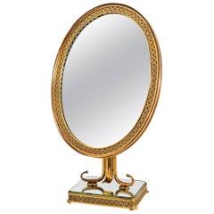 Decorative Brass Vanity Table Mirror, Italy, 1950s