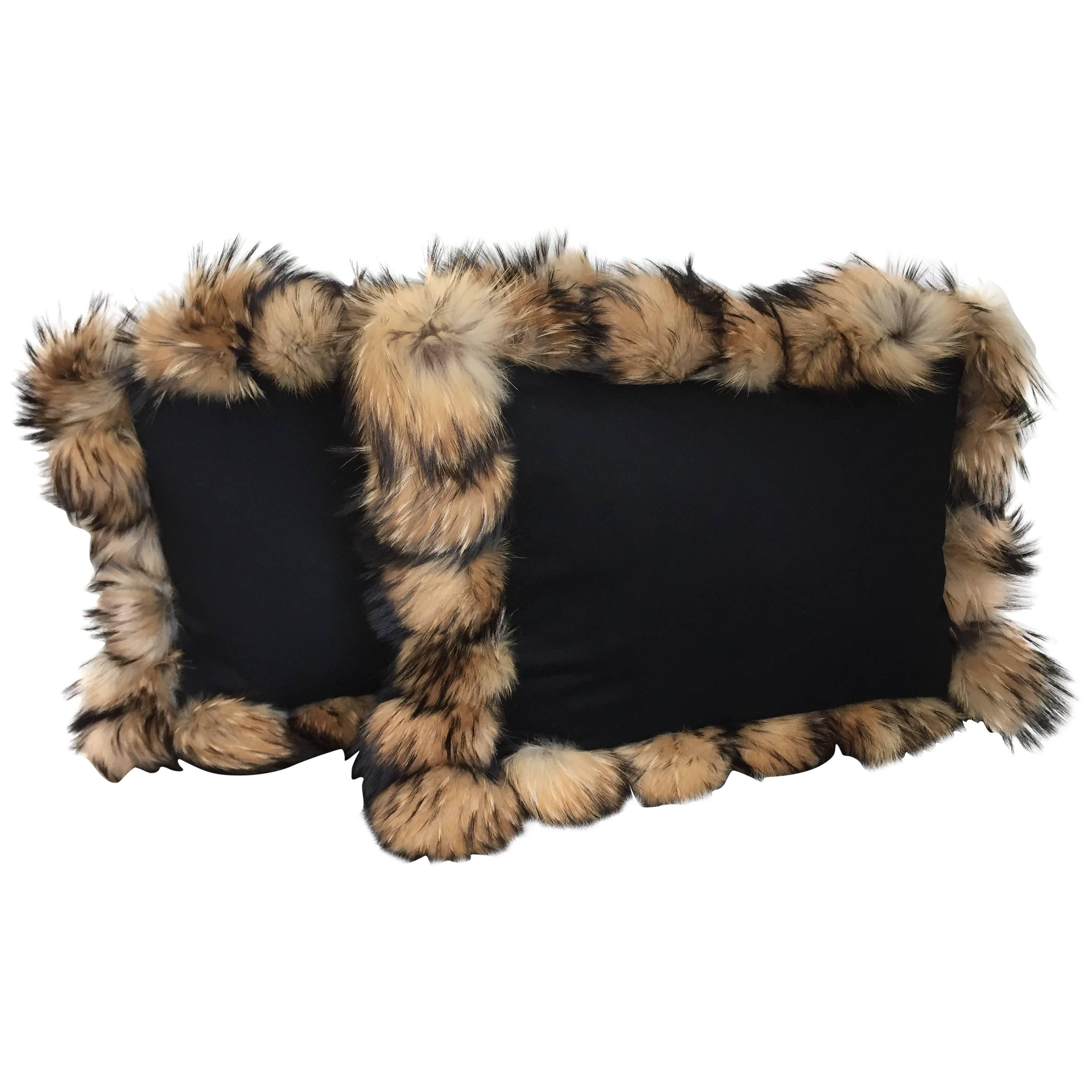 Cashmere Wool Cushions Color Black with Fur Trim Raccoon