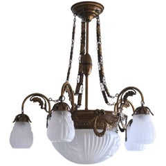 Art Nouveau Style Large Brass and Frosted Glass Seven-Light Chandelier
