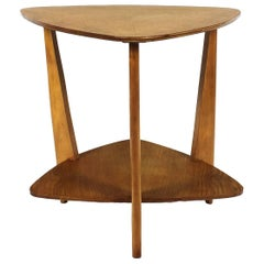 1950´s Tripod Sidetable, oak, two triangular levels - France