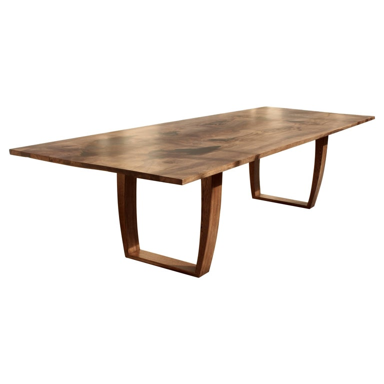 Contemporary salvaged oak and tinted resin dining table, bespoke sizes.