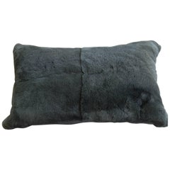 Cushion Fur Rabbit and Silk Satin Colour Silver Grey