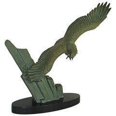 Art Deco Bronze Flying Eagle on a Rock Black Marble Base by Rulas