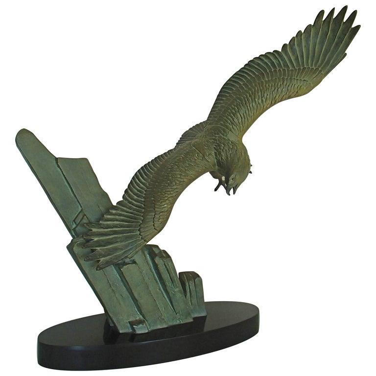 Art deco bronze flying eagle on a rock black marble base by rulas art deco bronze flying eagle on a rock black marble base by rulas for sale altavistaventures Images