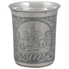 1839 Russian Silver and Niello Enamel Beaker