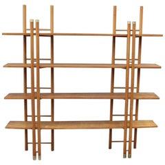 Minimalist Bookcase 1960s, Italian Design Wood Brass