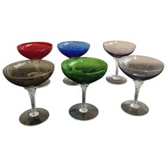 Six Colorful Murano Champagne Cups on Twisted Clear Base