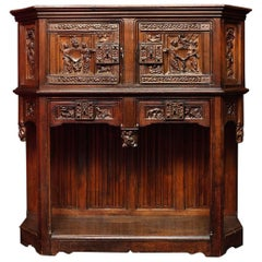 15th Century Gothic Sideboard with Carvings of Figures and Fantastic Beasts