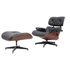 Eames Black Leather and Rio Rosewood Lounge Chair and Ottoman