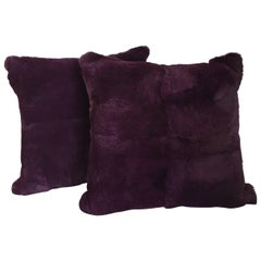 Rex Rabbit Fur Cushions Color Purple Silk Satin Color Green