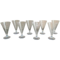 Art Deco Eight Cracquele Glass Glasses with Light Blue Base