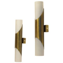 1970s German Vintage Design, Brass and Glass Neuhaus Wall Sconces Lamps
