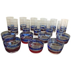 Mid-Century Seven Cups and 11 Water, Long Drink Glasses Red Blue Fulvio Bianconi