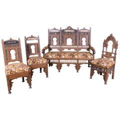 19th Century, Oriental Seat Group with Inlays Marakesch, circa 1900