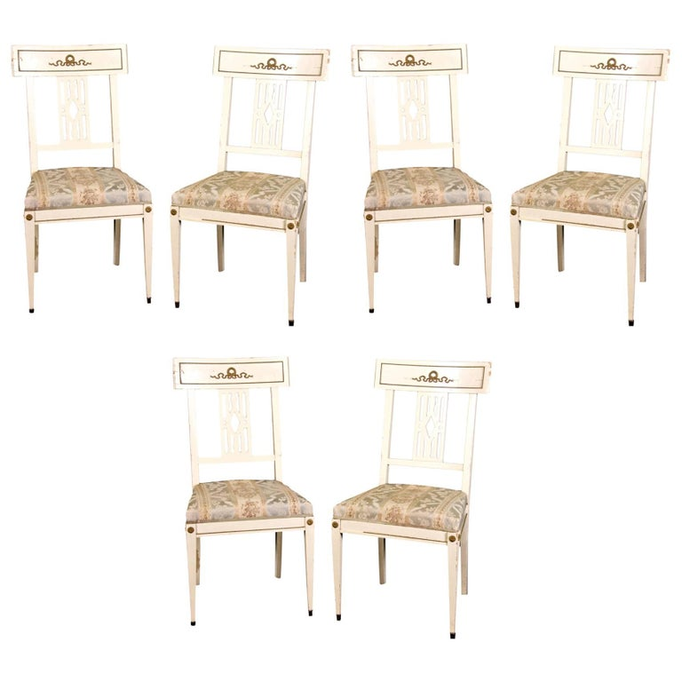 Antique Swedish Gustavian Bellman Dining Chairs, Set of Six Late 19th Century