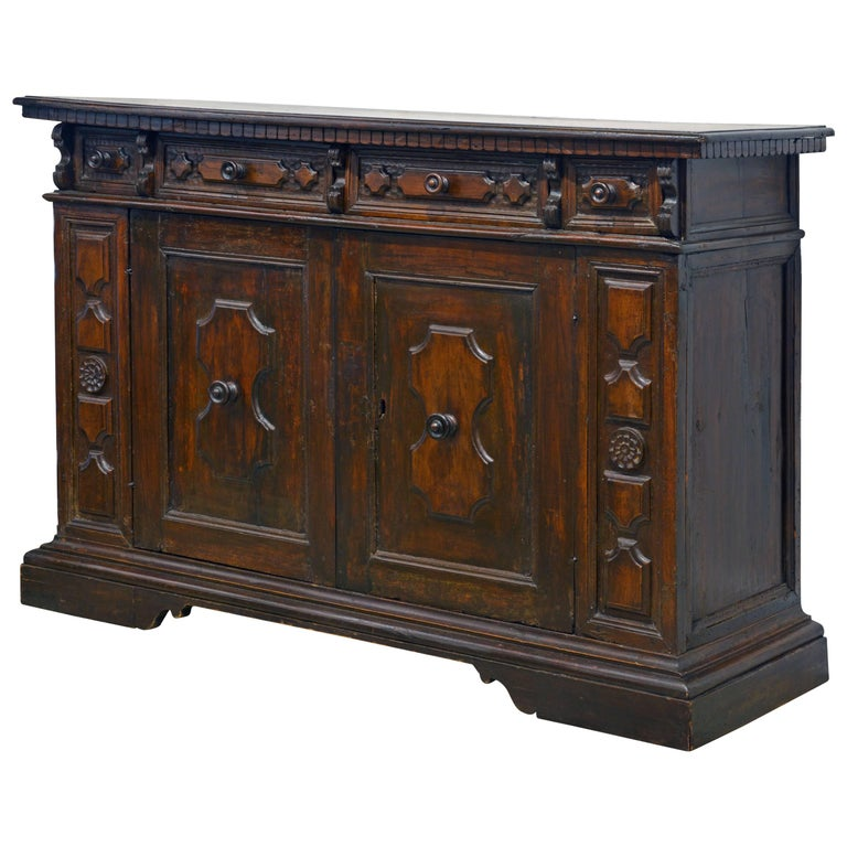17th Century Richly Carved Italian Baroque Walnut Credenza or Buffet For Sale