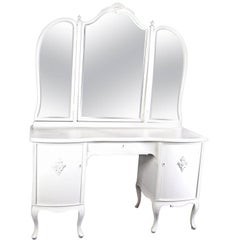 Antique Swedish Gustavian Three Mirror Curved Dressing Table Early 20th Century