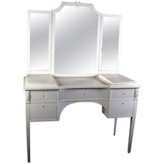 Early 20th Century, Antique Swedish Gustavian Three Mirror Carved Dressing Table