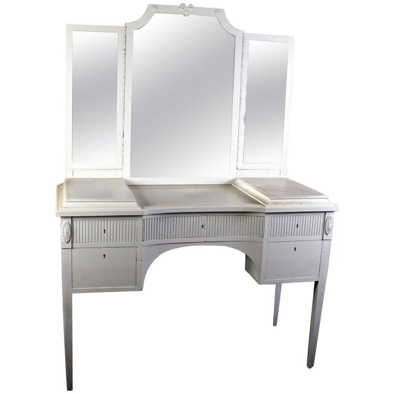 Antique Swedish Gustavian Three Mirror Carved Dressing Table Early 20th Century