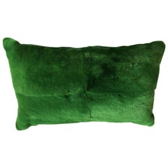 Rex Rabbit Fur Cushion Color Green and Hand Woven Silk Color Plum