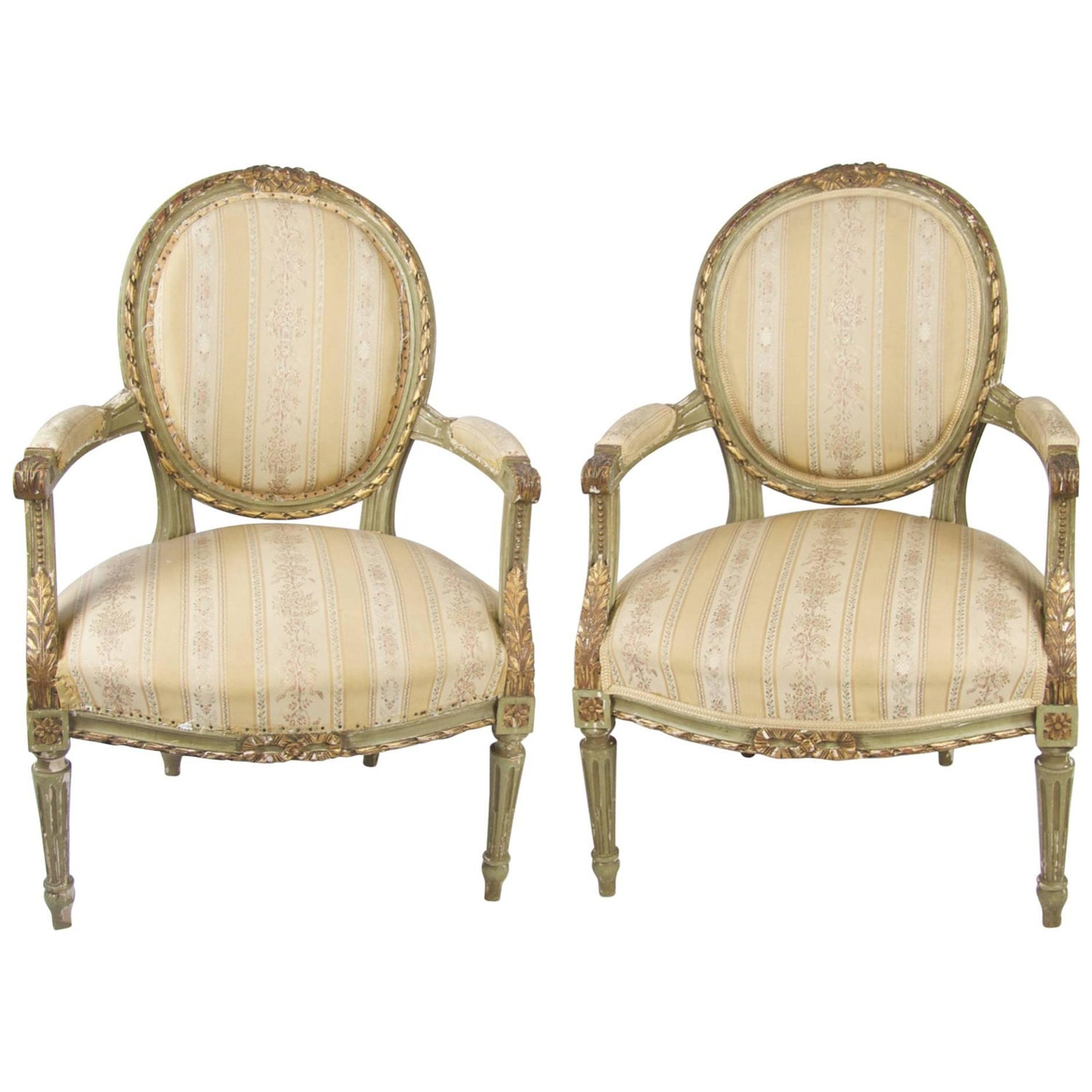 Late 19th Century Antique Swedish Gustavian Carved Gilt Carver Chairs