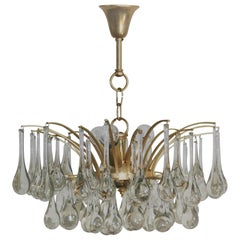Clear Murano Glass and Brass Chandelier, circa 1970s Attr. by E.Palme