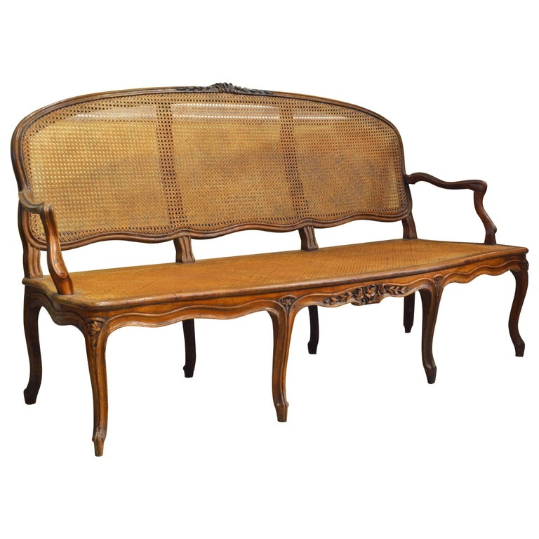 Late 18th Century Provincial Louis XV Style Carved and Caned Walnut Settee 1