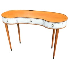 Mid-Century Dressing Table in Mahogany and Art Leather by Halvdan Pettersson