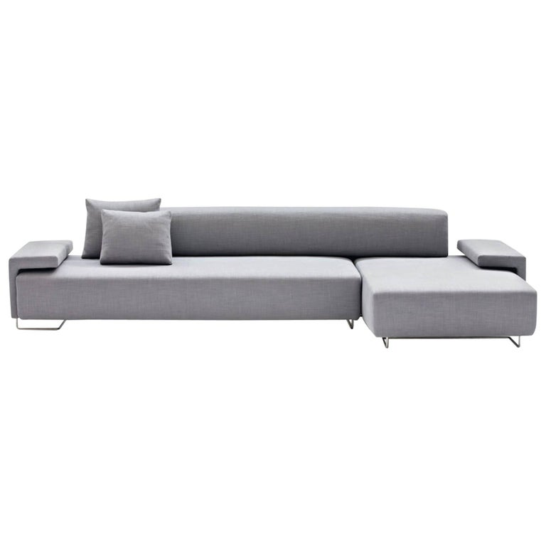 Moroso Lowland Sofa In Grey Steelcut Trio 133 Fabric Right Or Left L