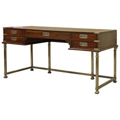 Mahogany and Brass Leather Top Campaign Style Executive Desk by Sligh, Michigan