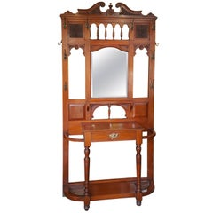 Aesthetic Period Walnut Hall Stand