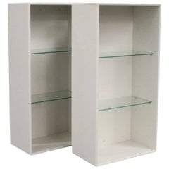 Pair of White Bookcases by Montana with Glass Shelves