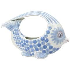 Spanish, 1970s Lladró Porcelain Blue & White Fish Figure Centrepiece or Planter