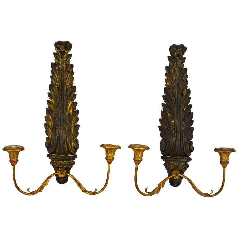 Pair of Italian 1950s Palladio Wood and Gilt Iron Neoclassical Wall Sconce 1