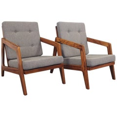 Pair of Easy Chairs in Rosewood and Cushions in Grey Wool, 1960s