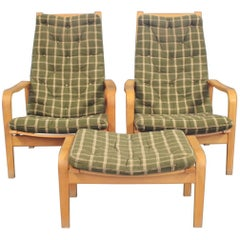 Pair of Easy Chairs with Stool by Alf Svensson and Källemo, 1960s